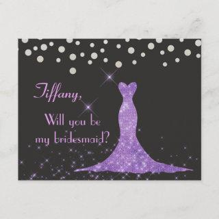 Purple and Silver Will you be my bridesmaid? Invitations