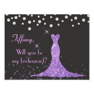 Purple and Silver Will you be my bridesmaid? Invitation