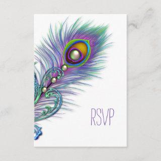 Purple and Teal Blue Peacock RSVP