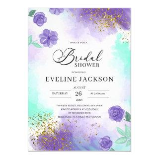 Purple and teal turquoise gold bridal shower Invitations