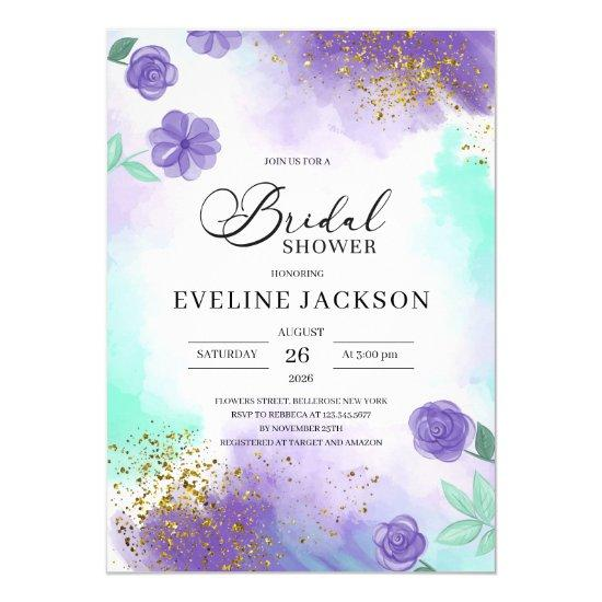 Purple and teal turquoise gold bridal shower invitation