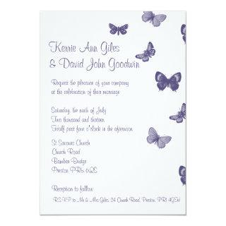 Purple and White Butterfly Wedding Invitations