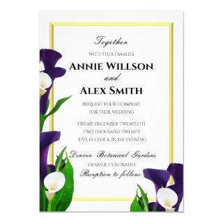Purple and White Calla Lily Wedding Invitation