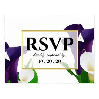 Purple and White Calla Lily Wedding RSVP Postcard