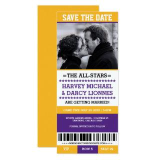 Purple and Yellow Sports Ticket Save the Date Invitation