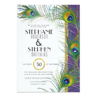 Purple Art Deco Peacock Feathers Modern Typography Invitation