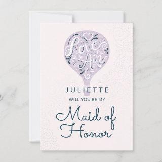 Purple Balloon Be My Maid of Honor Proposal Card