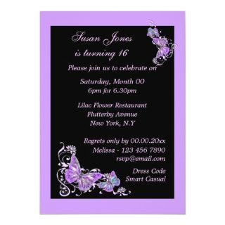 Purple black butterfly floral PERSONALIZE Invitation