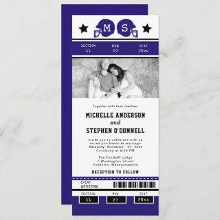 Purple Black Football Ticket Wedding Invite