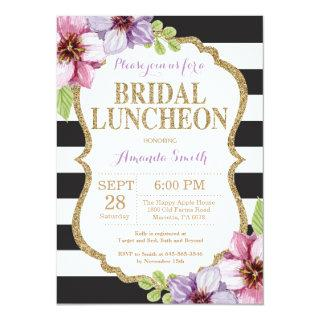 Purple Black Gold Bridal Luncheon Invitations