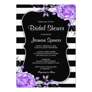 Purple Black White Stripe Bridal Shower Invitations