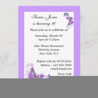 Purple blue butterfly floral PERSONALIZE Invitations