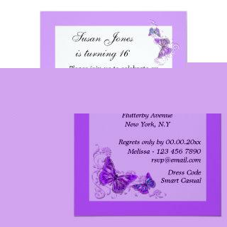 Purple blue butterfly floral PERSONALIZE Invitation