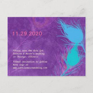 Purple, Blue, Teal Peacock Wedding Save the Date Announcement Postcard