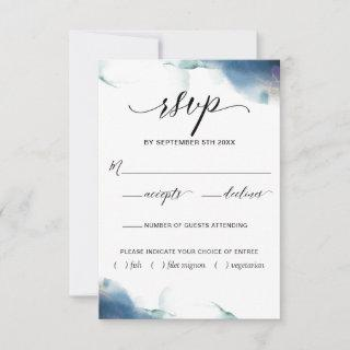 Purple, Blue, Teal Watercolor RSVP w/Meal Choices
