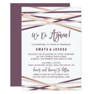 Purple Blush and Rose Gold Streamers Vow Renewal Invitation