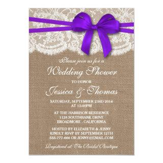 Purple Bow Rustic Burlap & Lace Wedding Shower Invitation