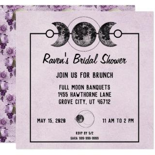 Purple Bridal Shower Skulls Roses Goth Wicca Invitations