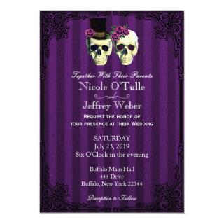 Purple Bride Groom Skulls Wedding Invitations