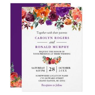 Purple Burgundy Orange Floral Vineyard Wedding Invitations