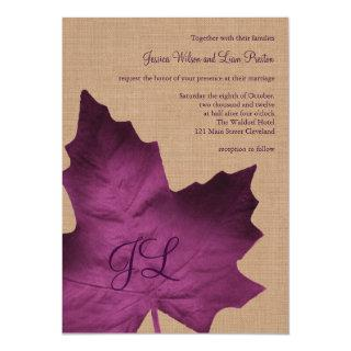 Purple Burlap Monogrammed Wedding Invitation