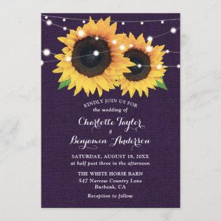 Purple Burlap String Lights Sunflower Wedding Invitation