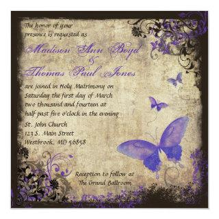 Purple Butterfly Vintage Square Wedding Invitations