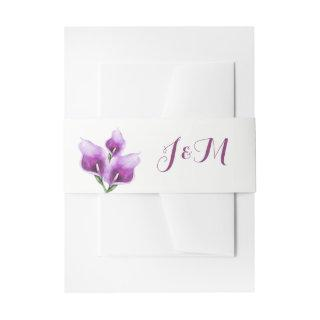 Purple Calla Lillies Monogram Floral Wedding Invitation Belly Band