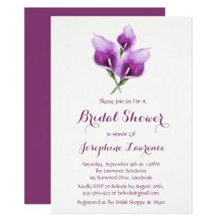 Purple Calla Lily Bridal Shower Invitations