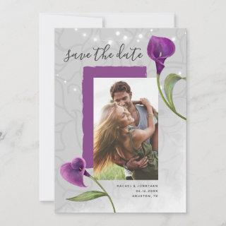 Purple Calla Lily Photo Save the Date Invitations