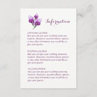 Purple Calla Lily Wedding Information Cards