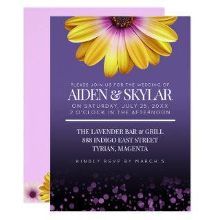 Purple Confetti African Daisies Floral Wedding Invitations