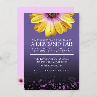 Purple Confetti African Daisies Floral Wedding Invitation