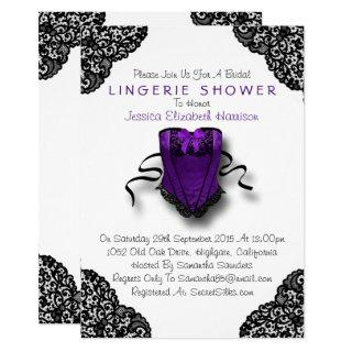 Purple Corset & Black Lace Lingerie Shower Invitations