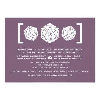 Purple D20 Dice Gamer Wedding Invitation 16roll