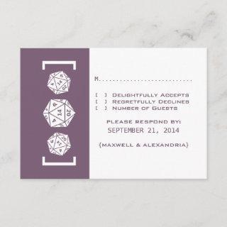 Purple D20 Dice Gamer Wedding Response Card