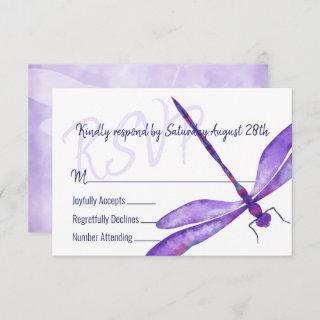 Purple Dragonfly RSVP Enclosure Card