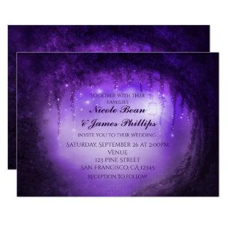 Purple Enchanted Forest Tree Fantasy Invitations
