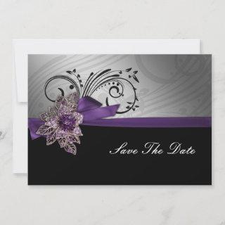 Purple FAUX ribbon vintage brooch Wedding Save The Date
