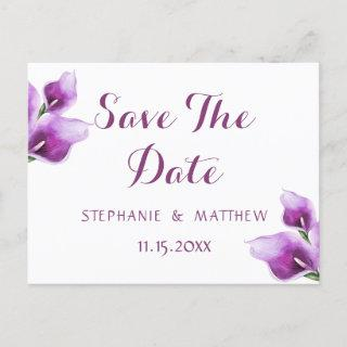 Purple Floral Calla Wedding Save The Date Announcement Postcard