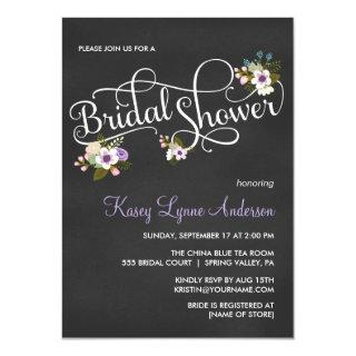 Purple Floral Chalkboard Bridal Shower Invites