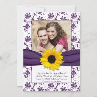 Purple Floral Damask Sunflower Save the Date