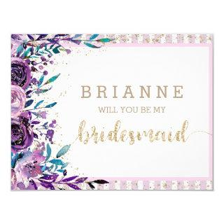 Purple Floral & Gold Will You Be My Bridesmaid Invitations