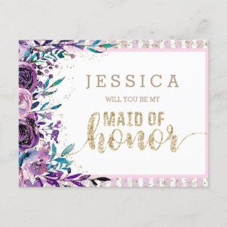 Purple Floral & Gold Will You Be My Maid of Honor Invitation