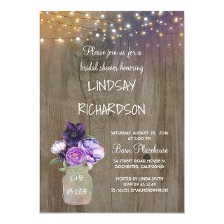 Purple Floral Mason Jar Rustic Barn Bridal Shower Invitation