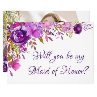 Purple Floral Photo Bridal Party Ask Invitations