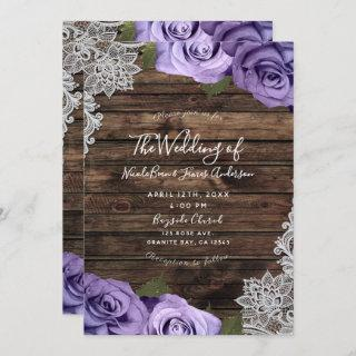 Purple Floral Roses Rustic Wood & Lace Wedding Invitations