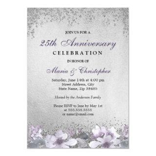 Purple Floral Silver 25th Wedding Anniversary Invitation