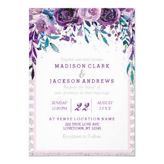 Purple Floral & Silver Wedding Invitations
