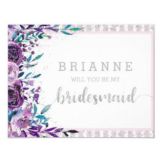 Purple Floral & Silver Will You Be My Bridesmaid Invitation